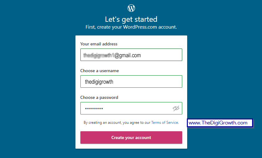 Wordpress free Signup form