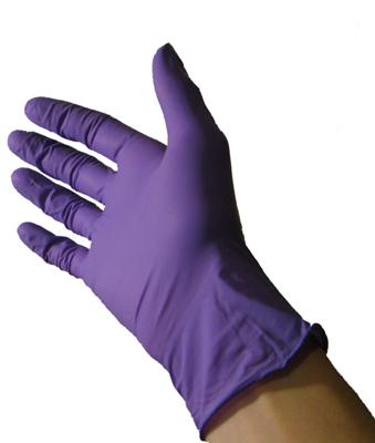 Purple nitrile glove
