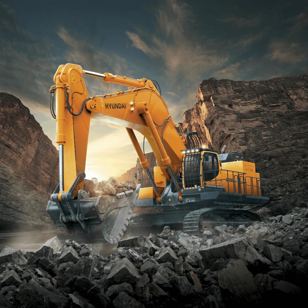 r1200 9 hyundai crawler excavator in the field quarry